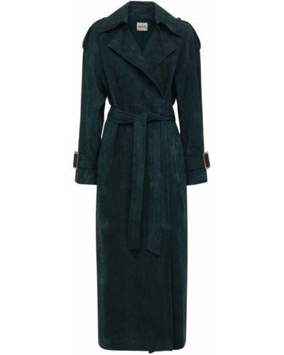 Замшевое пальто с поясом с лацканами Khaite