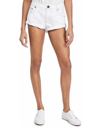 Хлопковые белые джинсовые шорты с карманами One Teaspoon
