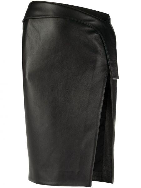 Облегающая черная юбка миди с разрезом из вискозы Mugler