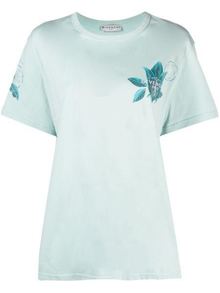 Niebieski bawełna koszula krótkie rękawy z haftem Givenchy