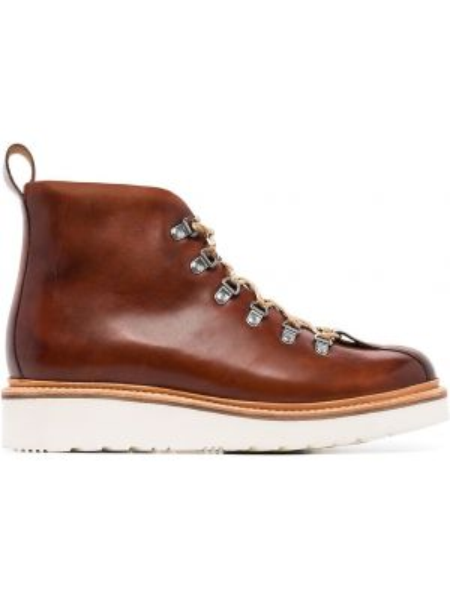 Коричневые кожаные ботинки на шнуровке Grenson