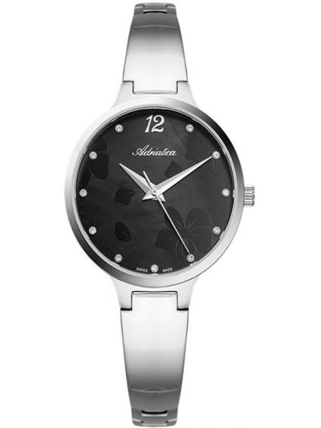 Czarny zegarek srebrny Adriatica