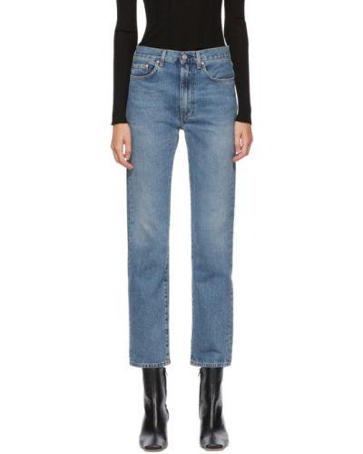 Beżowy skórzany jeansy na wysokości z kieszeniami z łatami Toteme