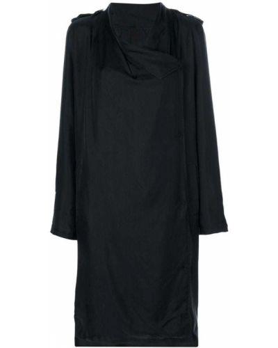 Черное длинное пальто с капюшоном на пуговицах Avelon