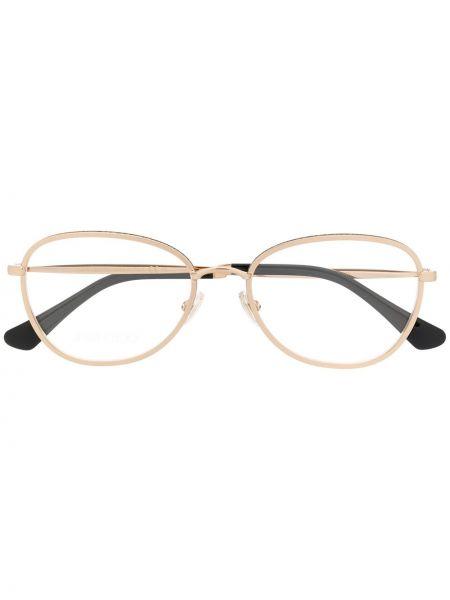 Золотистые желтые очки прямоугольные металлические Jimmy Choo Eyewear