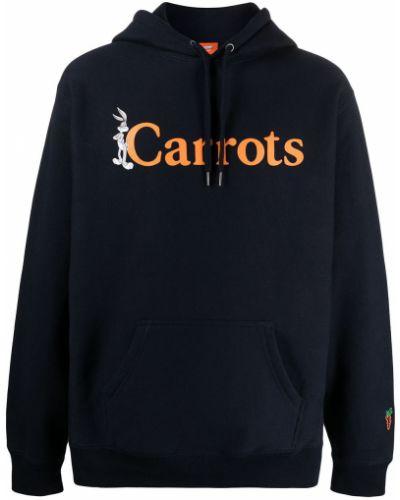 Niebieska bluza długa z kapturem z długimi rękawami Carrots