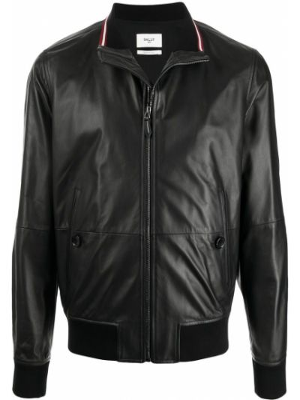 Кожаная куртка длинная - черная Bally