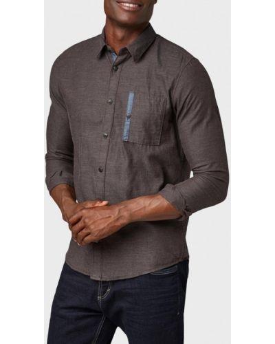 Коричневая рубашка с длинным рукавом Tom Tailor