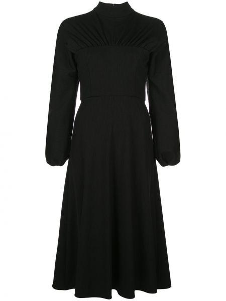 С рукавами черное расклешенное платье на молнии Christian Siriano