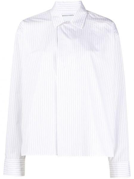 Biała klasyczna koszula bawełniana z długimi rękawami Bottega Veneta