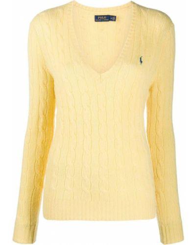 Żółte polo z długimi rękawami z haftem Polo Ralph Lauren