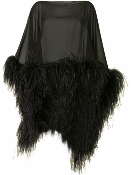 С рукавами шелковое черное пончо с бахромой 16arlington