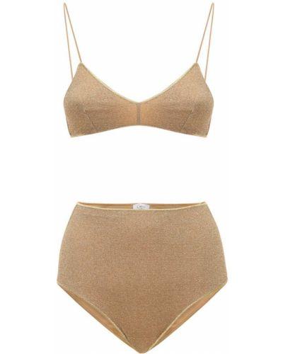 С завышенной талией бикини золотые с подкладкой Oséree Swimwear