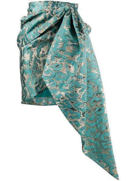 Синяя плиссированная юбка мини с драпировкой Christian Pellizzari