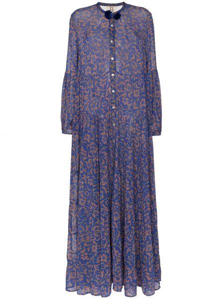 Niebieska sukienka długa z długimi rękawami z szyfonu Figue