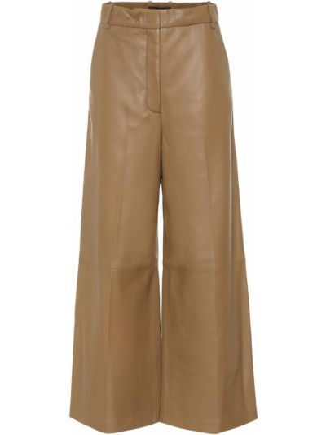 Кожаные бежевые брюки свободного кроя Joseph