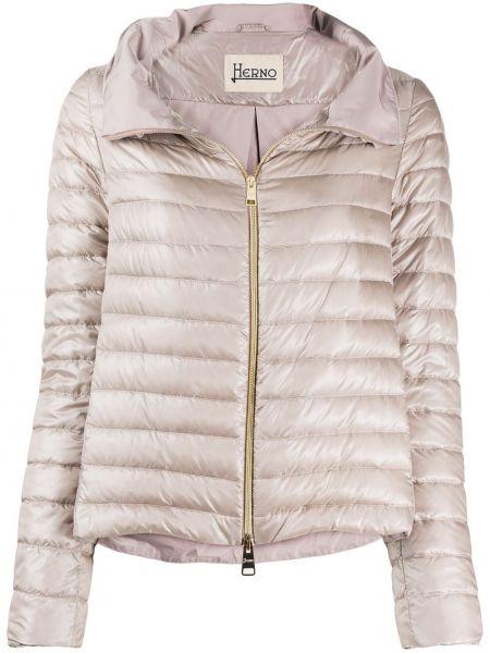 Классическая куртка на молнии с воротником с перьями Herno