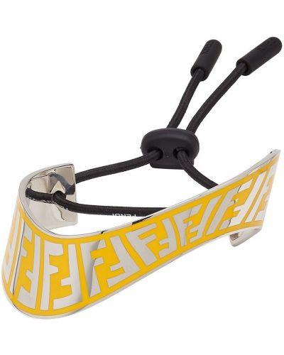 Żółta bransoletka łańcuch srebrna z printem Fendi