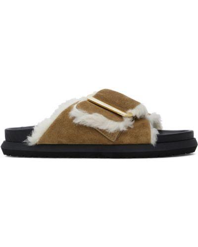 Z paskiem czarny skórzany sandały z klamrą Sacai