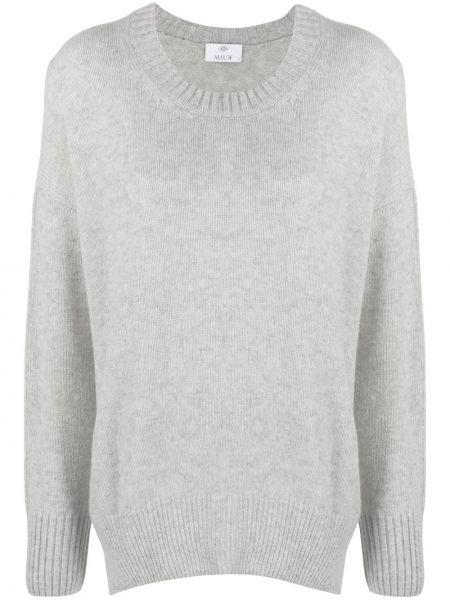 Серый кашемировый вязаный свитер в рубчик Allude