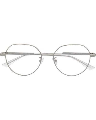 Серебряные очки круглые металлические прозрачные Bottega Veneta Eyewear