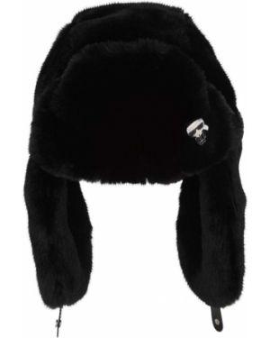 Шапка из искусственного меха - черная Karl Lagerfeld