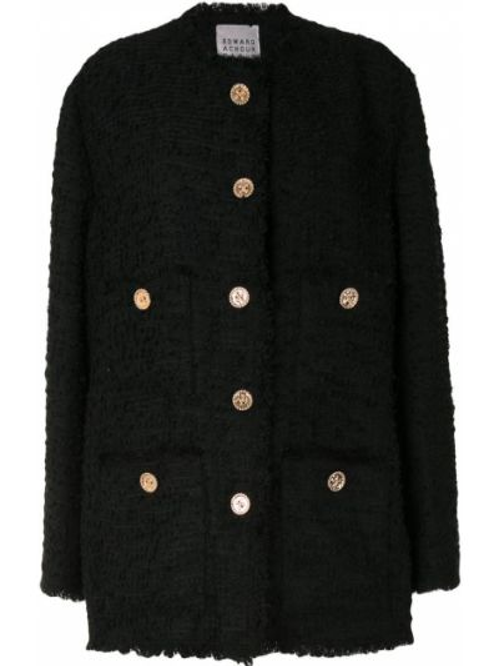 Черный удлиненный пиджак твидовый на пуговицах Edward Achour Paris