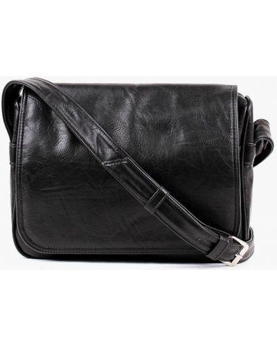 Кожаная сумка через плечо черная медведково