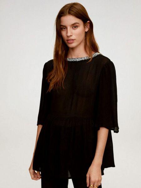 Блузка с длинным рукавом черная весенний Mango