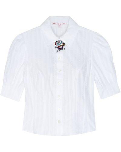 Базовая белая блузка с брошью с вышивкой Olympia Le Tan