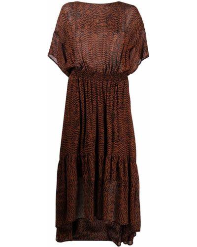 Коричневое платье миди с поясом с короткими рукавами 8pm