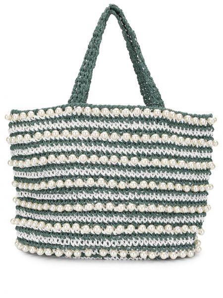 Зеленая пляжная соломенная пляжная сумка круглая 0711