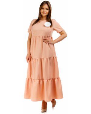 Летнее платье мини персиковое Liza Fashion