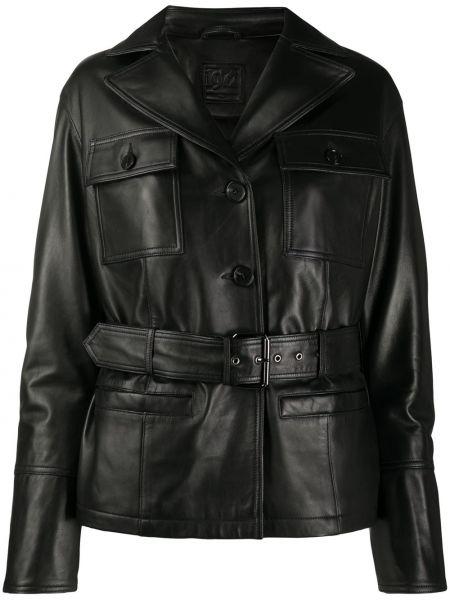 Классическая черная куртка с воротником с поясом Desa 1972