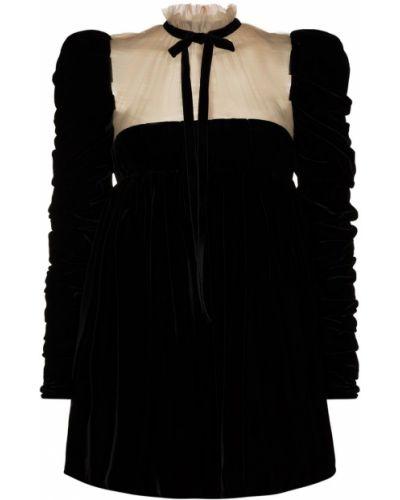 Шелковое с рукавами черное платье мини Khaite