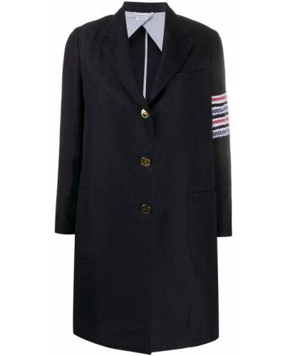 Синее пальто на пуговицах в полоску Thom Browne