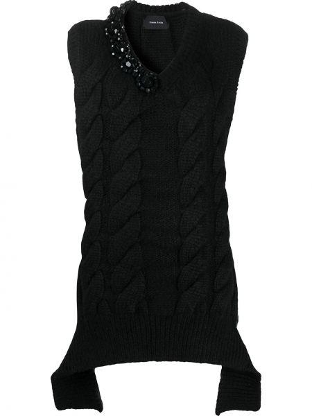 Вязаная черная жилетка с V-образным вырезом из альпаки Simone Rocha