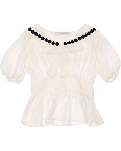 Biała koszula krótki rękaw z haftem Vivetta