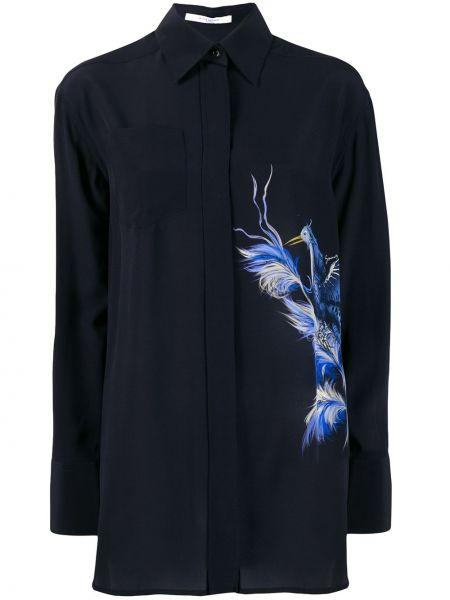 Niebieska koszula z długimi rękawami z wiskozy Givenchy