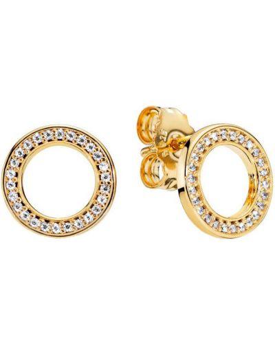 Серебряные серьги золотые круглые позолоченные Pandora