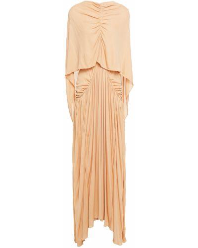 Pomarańczowa sukienka długa asymetryczna z wiskozy Roksanda