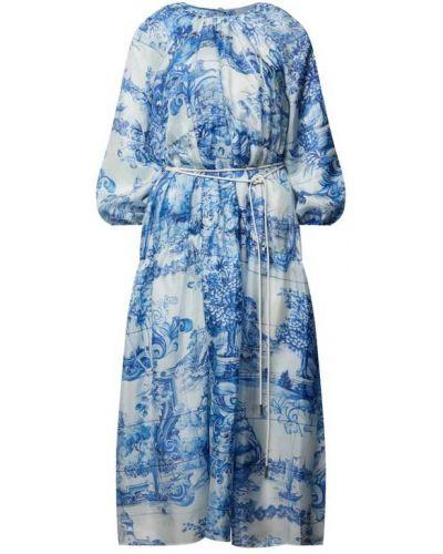 Sukienka midi rozkloszowana z paskiem z jedwabiu Boss