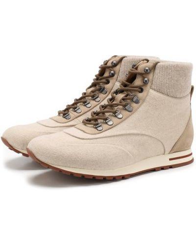 Ботинки на шнуровке кожаные комбинированные Loro Piana