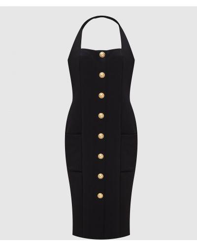 Платье мини с открытой спиной - черное Balmain