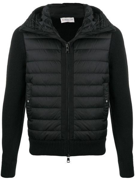 Klasyczny akryl czarny kurtka z kapturem z kieszeniami Moncler