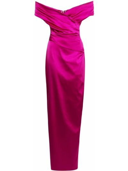 Розовое платье без рукавов с разрезом со спущенными плечами Talbot Runhof