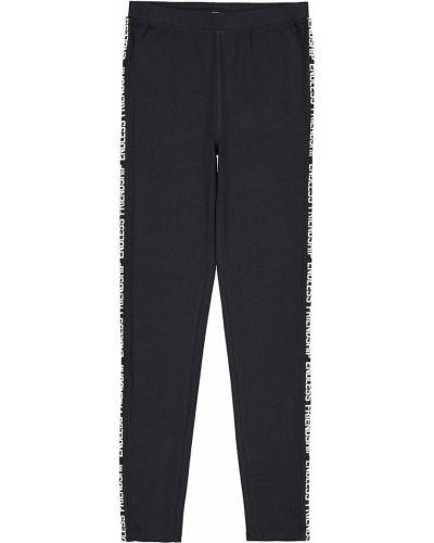 Кожаные черные брюки с надписью с поясом La Redoute