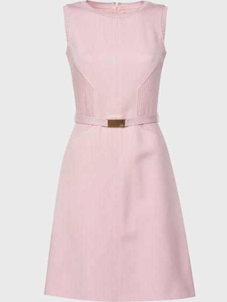 Шерстяное розовое платье с поясом Luisa Spagnoli