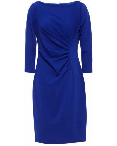 Трикотажное синее платье мини с оборками Dkny