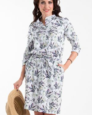 Джинсовое платье в полоску с цветочным принтом Taiga
